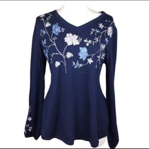 NEW Style & Co Floral Embroidered Blue Sweater